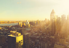 Manhattan morning sunrise skyline royalty free stock image