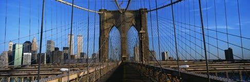 Manhattan Most Brooklyński Przejście close-up jest Manhattan Manhattan linia horyzontu jest w tle Stalowy fechtunek jest o Zdjęcia Stock
