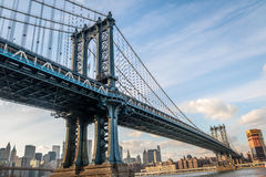 Manhattan most i Manhattan linia horyzontu - Nowy Jork, usa Obrazy Royalty Free
