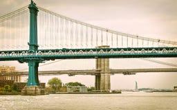 Manhattan most, most brooklyński i statua wolności, Obraz Stock