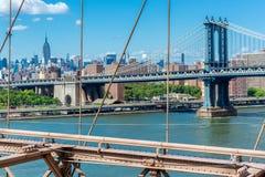 Manhattan most NYC widzieć od mosta brooklyńskiego Zdjęcia Stock