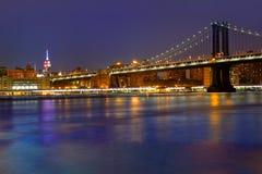 Manhattan mosta zmierzchu Nowy Jork NY NYC usa Fotografia Royalty Free