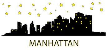 Manhattan na noite ilustração do vetor