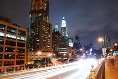 Manhattan-Nachtansicht, New York City Stockfoto