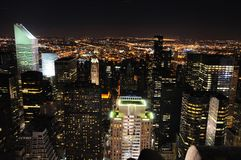 Manhattan-NachtSkyline Lizenzfreies Stockbild
