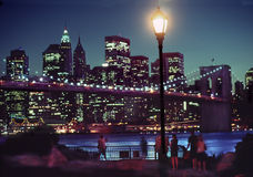 Manhattan Night Skyline, New York USA. Night view of Manhattan and Brooklyn Bridge from Brooklyn Bridge Park, New York City stock photography