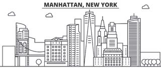 Manhattan, New York architecture line skyline illustration. Linear vector cityscape with famous landmarks, city sights. Design icons. Editable strokes Royalty Free Stock Photo