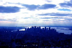 Manhattan, New York, in Blue. A View of Downtown Manhattan in Rich Blue Royalty Free Stock Image