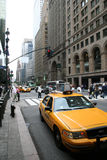 Manhattan New York City 42nd street. A typical yellow cab in Manhattan New York City 42nd street stock photo