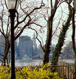 Manhattan, New York City USA. Manhattan financial district. View from Brooklyn Heights across the East River stock image