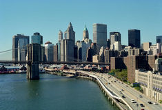 FDR Driveway, Manhattan, New York City USA. Manhattan and Brooklyn Bridge viewed from the Manhattan Bridge stock photos