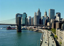 FDR Driveway, Manhattan, New York City USA. Manhattan and Brooklyn Bridge viewed from the Manhattan Bridge stock images