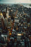 Manhattan New York City buildings lights aerial top view at the night time.  Royalty Free Stock Photography