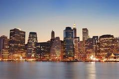 Manhattan in New York City at dusk Stock Photos