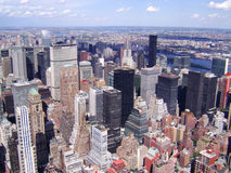 Manhattan, New York city from Empire State building, vintage style, New York City, USA Stock Images