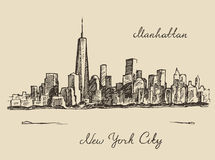 Manhattan New York city engraved illustration Stock Image