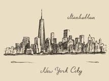 Manhattan New York city engraved illustration Stock Image
