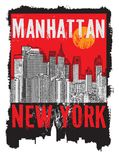Manhattan, New York city. Silhouette illustration in flat design, t-shirt print design or poster, vector illustration Stock Photos