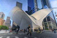 The Oculus exterior of the WTC Transportation Hub in New York City, USA. Manhattan, New York City - May 10, 2018 : The Oculus exterior of the WTC Transportation royalty free stock images