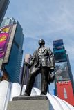 The statue of George m. Cohan with Street signs at Times Square, NYC. Manhattan, New York City - May 10, 2018 : The statue of George m. Cohan with Street signs Stock Photography
