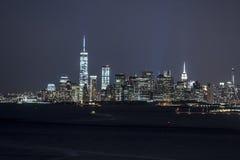Manhattan new york city at night Stock Images