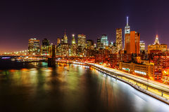 Manhattan, New York City, at night Royalty Free Stock Images