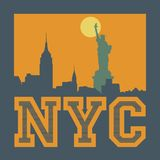 Manhattan, New York city, silhouette illustration Royalty Free Stock Images