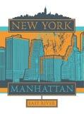 Manhattan, New York city. Silhouette illustration in flat design, t-shirt print design or poster, vector illustration Stock Image