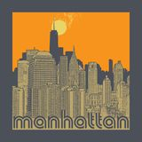 Manhattan, New York city, silhouette illustration Royalty Free Stock Photography
