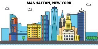 Manhattan, New York. City skyline, architecture, buildings, streets, silhouette, landscape, panorama, landmarks, icons Royalty Free Stock Photo