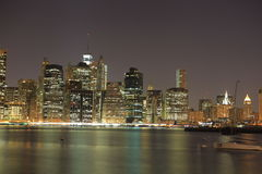 Manhattan. New York City. United states of America. Towers on Manhattan's Island at night. New York City stock image