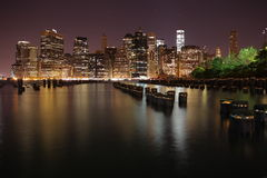 Manhattan. New York City. United states of America. Towers on Manhattan's Island at night. New York City stock photography