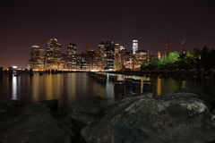 Manhattan. New York City. United states of America. Towers on Manhattan's Island at night. New York City stock images