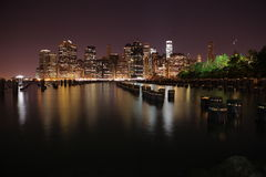 Manhattan. New York City. United states of America. Towers on Manhattan's Island at night. New York City stock photo