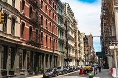 Houses in Mercer Street in Soho, Manhattan, NYC royalty free stock image
