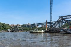 Spuyten Duyvil Bridge over the Harlem River, Manhattan, NYC. Manhattan,New York City,USA - June 30, 2018 : View of the Spuyten Duyvil Bridge from the Harlem stock photos