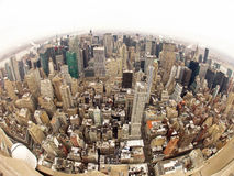 Manhattan in New York City wide angle view Royalty Free Stock Image