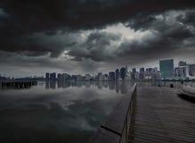 Manhattan New York cloudy dramatic skyline USA Royalty Free Stock Photos