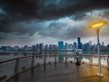 Manhattan New York cloudy dramatic skyline USA Royalty Free Stock Photo