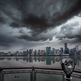 Manhattan New York cloudy dramatic skyline USA Royalty Free Stock Photography