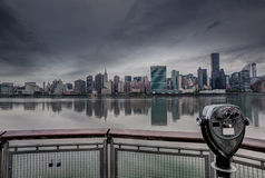 Manhattan New York cloudy dramatic skyline USA Stock Photo