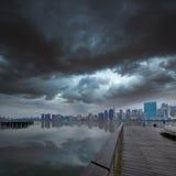 Manhattan New York cloudy dramatic skyline USA Stock Images