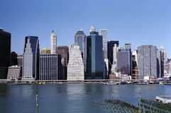 Manhattan New York Financial District USA. New York financial district, Pier seventeen and FDR Drive along the East River Manhattan waterfront stock photo