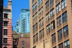 Manhattan New York i stadens centrum byggnadstexturer Royaltyfri Bild