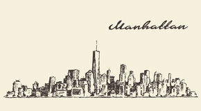 Manhattan New York illustration hand drawn sketch Stock Image