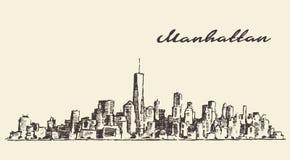 Manhattan New York illustration hand drawn sketch Stock Image