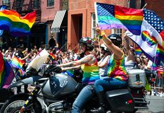 Bikers at the 2018 New York City Pride Parade. Manhattan, New York - June 24, 2018: New York City Pride Parade commemorating the 49th anniversary of the royalty free stock photography