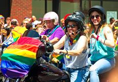 Bikers at the 2018 New York City Pride Parade. Manhattan, New York - June 24, 2018: New York City Pride Parade commemorating the 49th anniversary of the stock photos