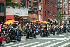 Bikers at the 2018 New York City Pride Parade. Manhattan, New York - June 24, 2018: New York City Pride Parade commemorating the 49th anniversary of the royalty free stock photos