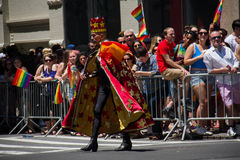 Manhattan, New York, June, 2017: fancy king costume in The Gay Pride Parade Stock Images